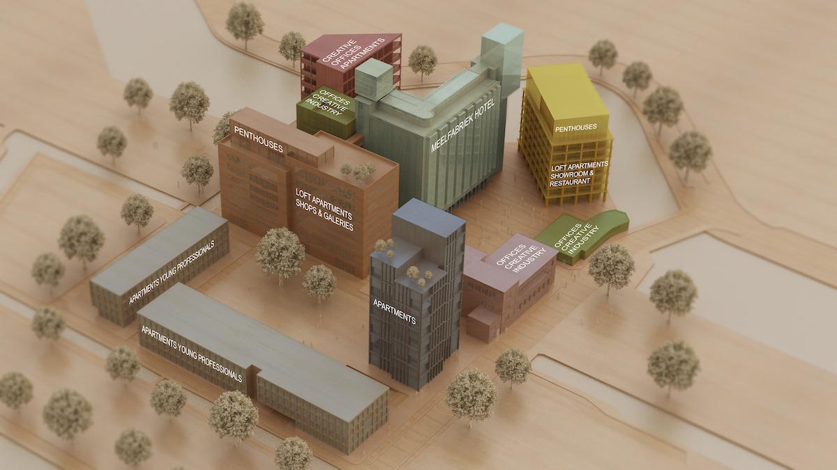 Overzicht De Meelfabriek in Leiden